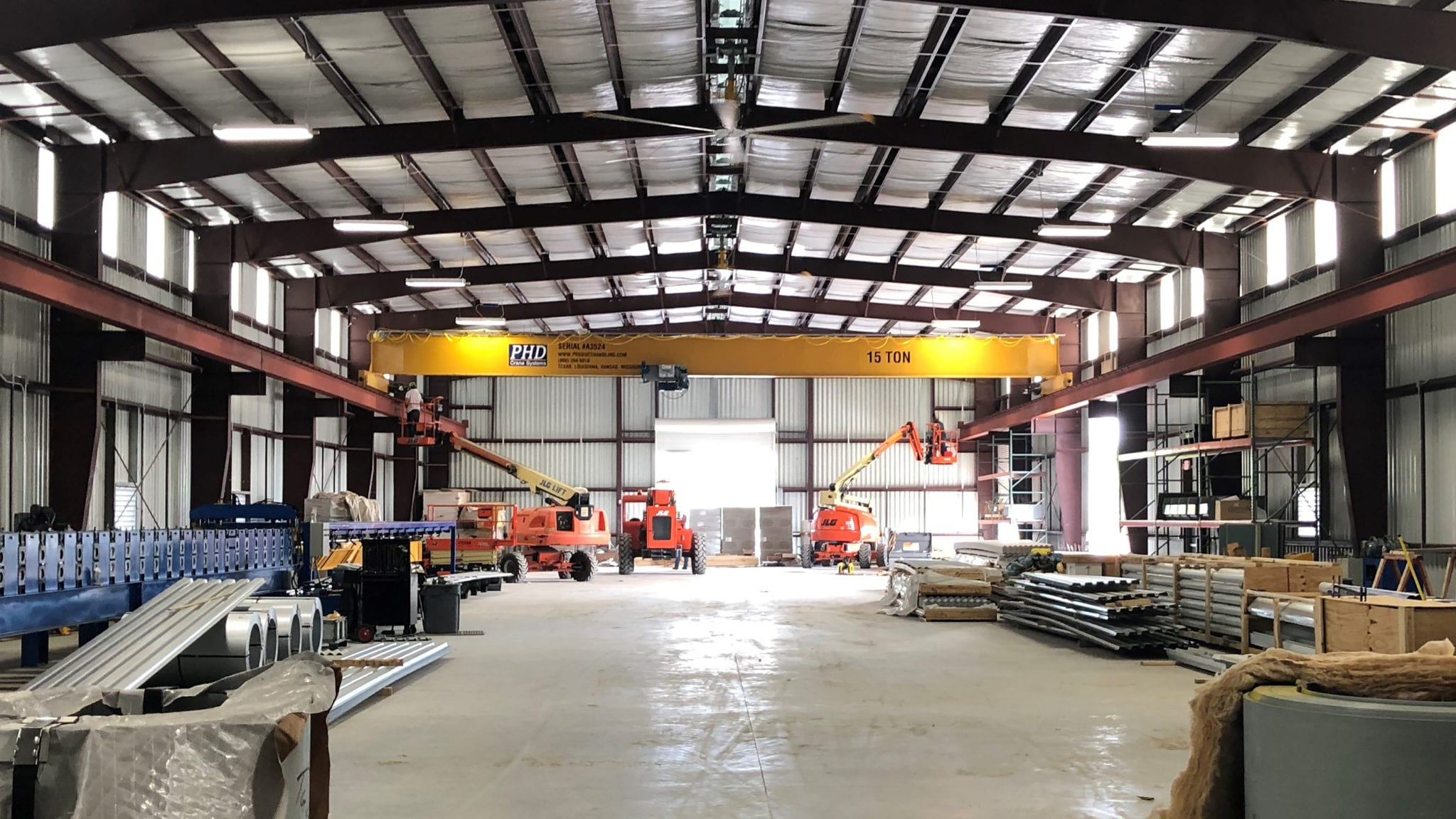 The 15-ton overhead crane improves our production capabilities and speed.