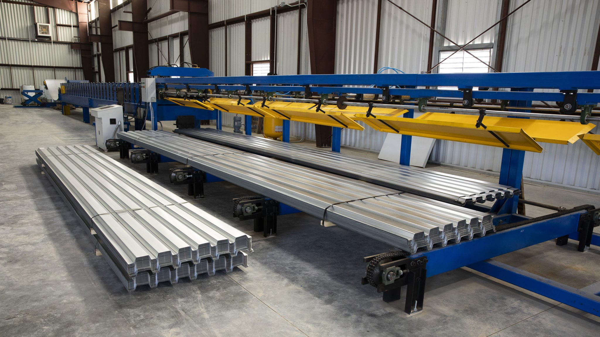 Our newly-installed roll forming line and 50-ft automatic stacker allow fast production from 2 ft. to 50 ft. lengths.