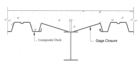 composite deck gage closure illustration